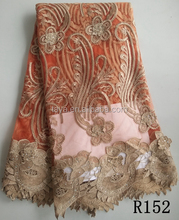 Wholesale african tulle lace fabric , tulle lace french net lace, african style french lace orange