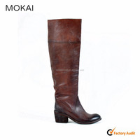 206303 red brown new style leather italian women shoe factory over knee