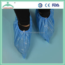 Disposable PP/ CPE/PP+PE/PE plastic shoe cover with anti-slip by machine made or hand made