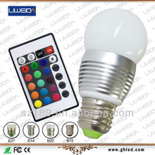 1pcs RGB E27 3W handheld rechargeable led light led rgb with 16 colors and remote control