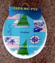 TAPA WC PVC Sailing Boat Printing Soft Cushion Toilet Seat Cover