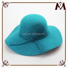 2015 High quality woman winter blue wool felt wide brim fedora hat