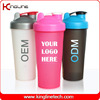 Cutom color 600ml personalized shaker bottles with ball ODM(KL-7010)