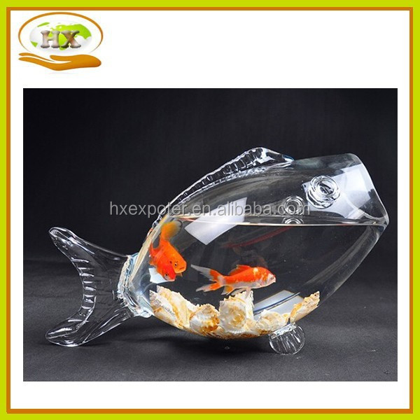 Decorative clear fish shaped glass fish bowl buy glass for Fish shaped bowl