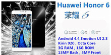 "Original Cell Phone Hisilicon Kirin 920 1.7GHz 4G FDD LTE Octa Core 3GB RAM 5.0""inch 13MP Android 4.4 Phone Huawei Honor 6"