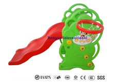 Bear plastic slide with basketball ring kids fun playground