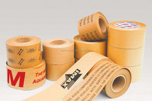 Water activated gummed tape with craft paper