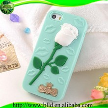While Rose silicone phone case for iphone 5