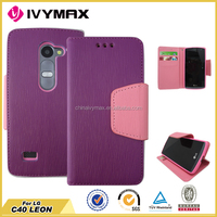 multi- color PU leather case for LG C40 LEON dual protective wallet case