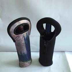 neoprene single bottle wine tote with zipper