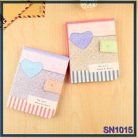 Newest Design stationery item fresh love pattern dairy book fabric notebook factory