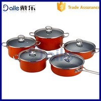 Glass lid enamel non-stick cookware set