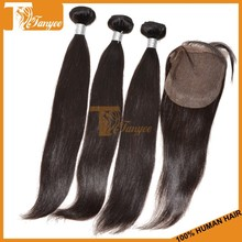 Fast Delivery Natural Virgin Hair Cambodian 3 Bundles Hair Weaving With 1pc 4*4 Lace Closure No Shedding No Tangling