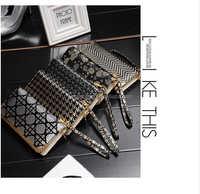 Latest design retro gold and silver long wallet with a large capacity leather wallet