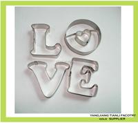 100% food grade metal love shape baking tool cake decorating tools