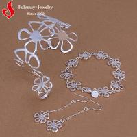 Pakistan artificial flower silver jewelry set wholesale