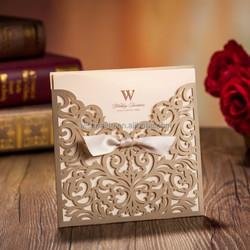 gold Laser Cut Wedding invitations Cards+1 Card+1 Envelope+1 Seals CW5011