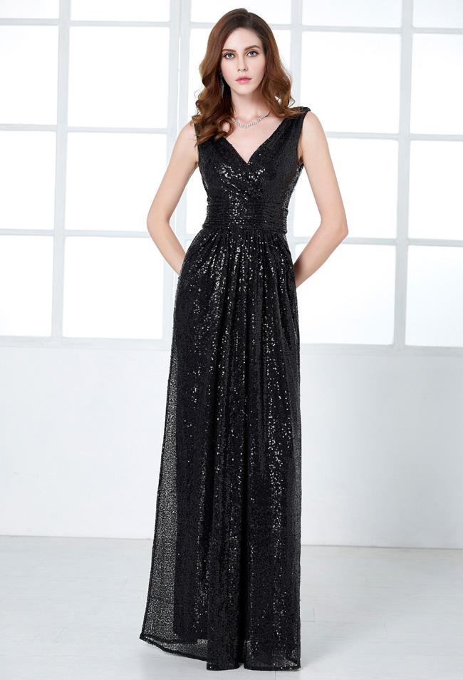 Queen Size Elegant Sequins Long Fat Ladies Evening Gown Dress ...