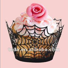 Paper Cupcake Wrapper Spider Web Halloween Decoration Cake Cookie Baking Sheet