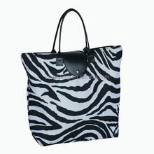 Folding zebra print shopping bags