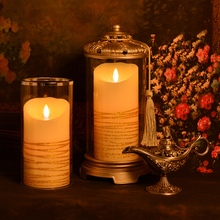 scented luminara led candles with auto timer/ Led Wax Pillar Candle With Moving Woving Wick/