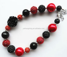 Red&black resin rhinestone chunky bead bubblegum necklace black rose flower jewelry wholesale!!