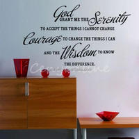 GOD GRANT ME THE SERENITY PRAYER BIBLE Removable Shelf Vinyl PVC Art Characters Wall Decal Stickers Mural Home Decor Decoration