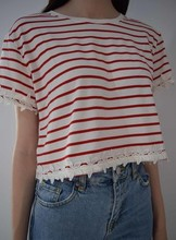 Red striped with appliques crop t-shirt design, custom design t-shirt