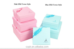 supply pink , blue Effel pattern Valentine's gift packing box, lovers gift packing box, cosmetic packing box