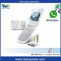 Big battery GSM dual sim mp3,mp4 GPRS bluetooth FM radio whatsapp dual sim quad band flip white cherry mobile