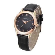 Top Sale! SINOBI Diamond Crystal Rose Silver Case Elegant All Black Men Quartz Wrist Gift Dress Men's Leather Strap Watches