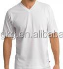 custom pure white tee shirt, cheap cotton tshirt ,160g plain V-neck tshirt white