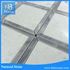 White carrara mixed gray marble thin strip mosaic wall tile
