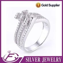 Venta al por mayor italiana aaa cz piedra rhodium plateada 925 anillo de plata de ley
