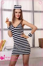 2015 Hot summer style women's stripe dress sex costume cop