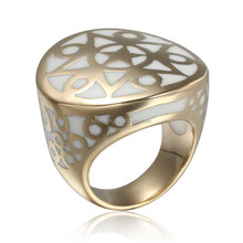 Banhado a ouro anel bijuterias com com esmalte anel anéis baratos para meninas