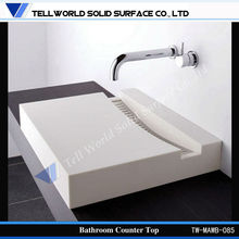 customized made crystal white bathroom man made marble countertop