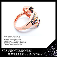 2015 new design rose gold with colorful zircon rings nice antique indian costume jewellery-SLS -