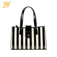 2014 Europe style fashion striped bag women leather hand bags designers brand