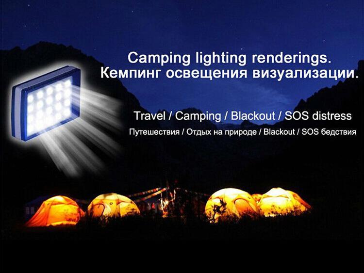 2015 New LED camping lanterna luz iluminação 50000 MAH banco de energia solar carregador solar móvel
