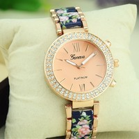 GENEVA Platinum Flower Bracelet Watch, Stainless Steel Rhinestone Lady Wristwatch