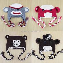 Baby Boy Girl Sock Monkey Beanies Hat Knitted Children Animal Cap Crochet Infant Winter Hat H142