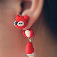 2015 New trend earring Polymer clay Earrings with Dangle Earrings fox