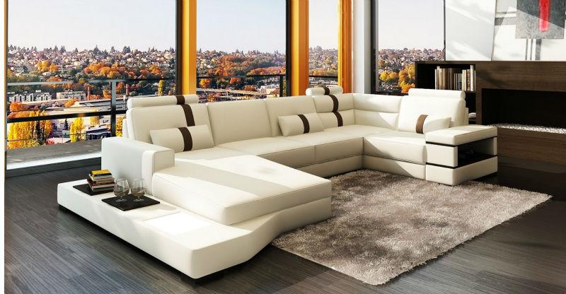 Germany Living Room Leather Sofa High Density Sponge For