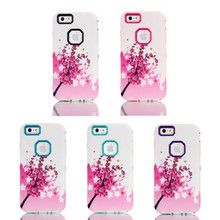 New Painting Pretty Plum Flower Design 3in1 Hybird Hard PC+Soft TPU Back Skin Cover Case For iPhone 6/6 Plus Made in China