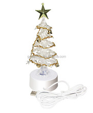 White Needle Pine 5 inch Led Fiber Optic Christmas Trees with Golden Mental star