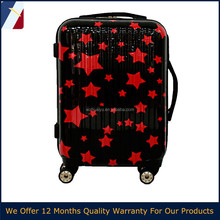 20''/24''/28'' carry-on red star PC ABS luggage children travel sport suitcase for 2015 in USA,India,Euro market