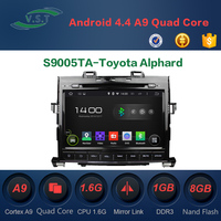 Android 4.4 Car audio stereo system/radio/dvd/gps navi for Toyota Alphard