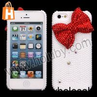 Glittering Cute 3D Red Bowknot Rhinestone Pearl PC Back Hard Case for iPhone 5 Multi Colors