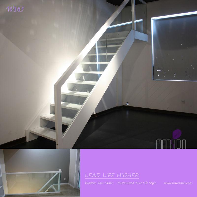 Modern huis indoor houten trap glazen balustrade trappen product id 1850523715 - Moderne houten trap ...